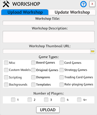 Workshop Upload Menu