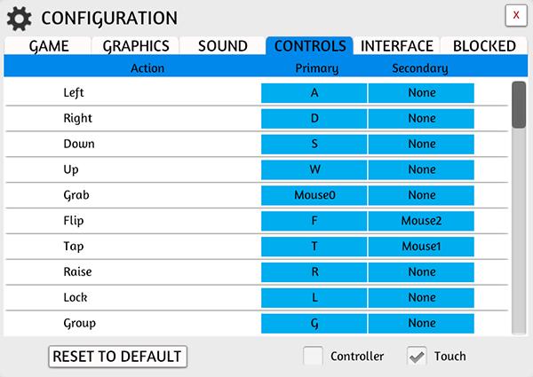 Controls Tab