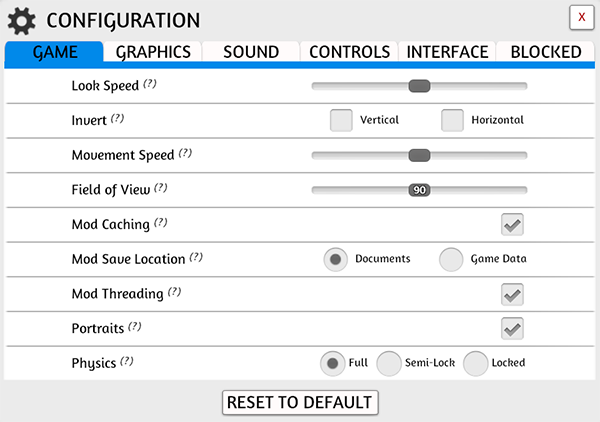 Configuration Menu Game Tab